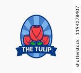 the tulip pink flower logo... | Shutterstock .eps vector #1194278407