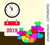 Vector 2019 Calendar With Clock ...