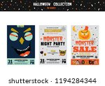 bright trick or treat cards in... | Shutterstock .eps vector #1194284344