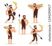 stone age primitive men cartoon ... | Shutterstock .eps vector #1194290917