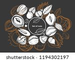 isolated vector set of nuts on... | Shutterstock .eps vector #1194302197