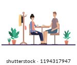 couple drinking coffee in the... | Shutterstock .eps vector #1194317947