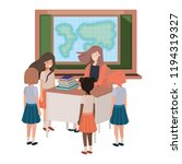 female teacher in the geography ... | Shutterstock .eps vector #1194319327