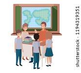 teacher in the geography class... | Shutterstock .eps vector #1194319351