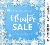 winter sale banner. origami... | Shutterstock .eps vector #1194322684