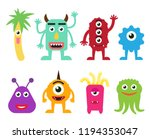 collection of cute cartoon... | Shutterstock .eps vector #1194353047