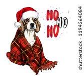 hand drawn portrait of beagle...   Shutterstock .eps vector #1194364084
