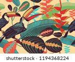 Birds Toucans On Background Of...
