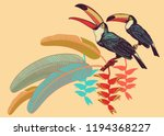 poster with birds toucans ... | Shutterstock .eps vector #1194368227