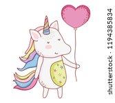 unicorn with balloon cartoon | Shutterstock .eps vector #1194385834