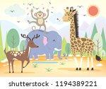 various wildlife designs in fun ...   Shutterstock .eps vector #1194389221