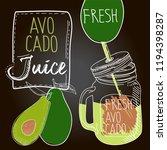 avocado fresh juice | Shutterstock .eps vector #1194398287