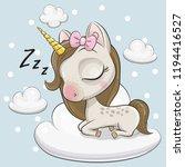 cute cartoon unicorn is... | Shutterstock .eps vector #1194416527