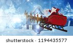 santa claus riding on sled... | Shutterstock . vector #1194435577