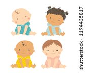 baby vector. multi ethnic set... | Shutterstock .eps vector #1194435817