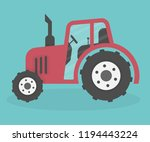 red tractor in flat style | Shutterstock .eps vector #1194443224