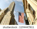 american flag on a building in... | Shutterstock . vector #1194447811