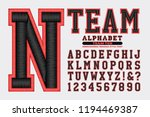 A sports team insignia or logo style alphabet. This font has a 3d embroidered thread effect.