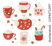 christmas teapot and cup.... | Shutterstock .eps vector #1194471397