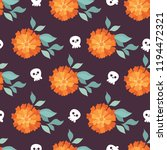 marigold and skull. seamless... | Shutterstock .eps vector #1194472321