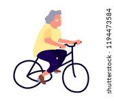 elderly woman on a bicycle.... | Shutterstock .eps vector #1194473584
