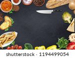 top view of table top with... | Shutterstock . vector #1194499054