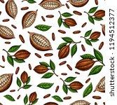 cocoa branch vector seamless... | Shutterstock .eps vector #1194512377