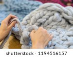 merino wool knitted plaid  arm... | Shutterstock . vector #1194516157
