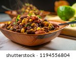 hot and spicy bowls of chili... | Shutterstock . vector #1194556804