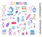 hand drawn genome sequencing... | Shutterstock .eps vector #1194560074