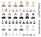 avatar and face cartoon icons... | Shutterstock .eps vector #1194573451