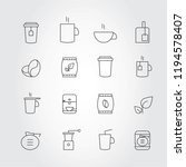coffee and tea thin line icons... | Shutterstock .eps vector #1194578407
