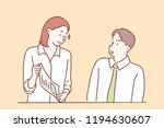 a man and a woman are talking... | Shutterstock .eps vector #1194630607