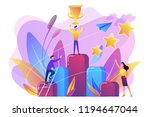 businessman holds a cup on top... | Shutterstock .eps vector #1194647044