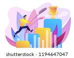 businessman jumps on graph... | Shutterstock .eps vector #1194647047