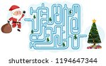 christmas maze puzzle game... | Shutterstock .eps vector #1194647344
