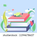 small woman and giant books.... | Shutterstock .eps vector #1194678637