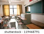 empty classroom with chairs ...   Shutterstock . vector #119468791