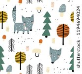 semless woodland pattern with... | Shutterstock .eps vector #1194694024