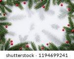christmas background with fir...   Shutterstock . vector #1194699241