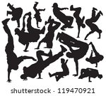 break dance vector silhouettes