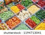 frozen vegetables on the store...   Shutterstock . vector #1194713041
