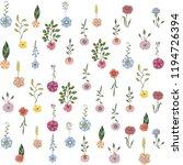 doodle flower pattern   Shutterstock .eps vector #1194726394