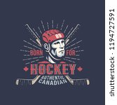 ice hockey player in red helmet ... | Shutterstock .eps vector #1194727591
