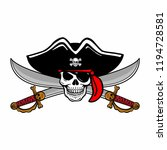 wicked hand drawn vector pirate ... | Shutterstock .eps vector #1194728581