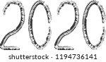 tire tracks . new year 2020.... | Shutterstock .eps vector #1194736141