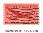 Old postage stamp from USA 5 cent - stock photo