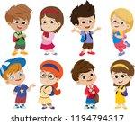 back to school. cute kids... | Shutterstock .eps vector #1194794317