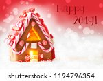 gingerbread house  red bokeh... | Shutterstock . vector #1194796354