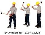 three identical men hold sledge ...   Shutterstock . vector #119482225